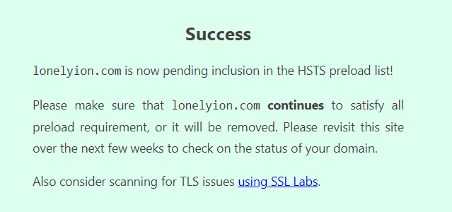 HSTS Preload Submit